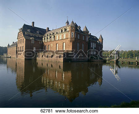 Stock Photography of Reflection of castle in water, Anholt Castle.