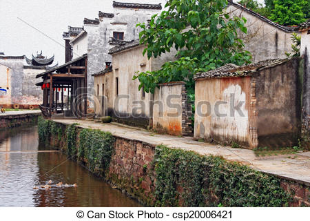 Clip Art of the canal of an ancient village in Anhui province.