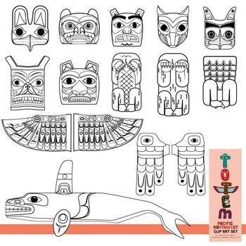 Totem Pole Clip Art Set (of the Pacific Northwest) in 2019.