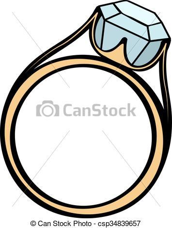 Dibujos de anillo de compromiso de diamantes. Boda o anillo.