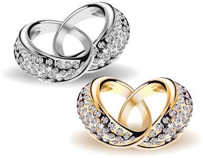 Free Enclavijado precioso oro & anillos de boda de diamantes.