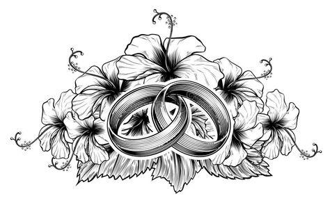 Anillos De Bodas Y Flores Del Hibisco Ilustración del Vector.