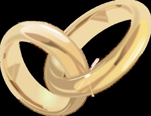 Ilustración de vector de oro los anillos de compromiso.