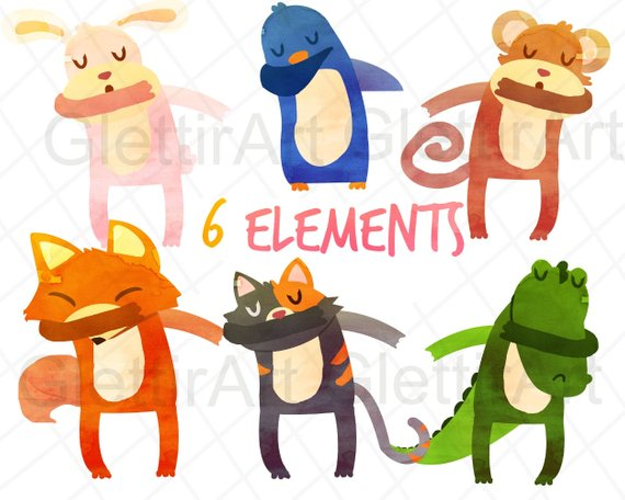 Cute Dabbing Animals Clipart, Animals clip art, Dab clipart.