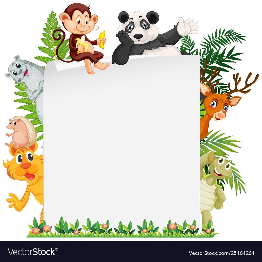 Wild animal border template.