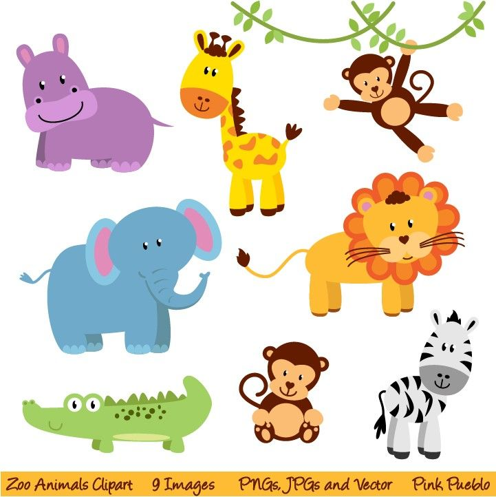 Zoo And Jungle Animals Clipart Print Candee cakepins.com in.