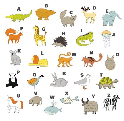 Animals alphabet Clipart Image.