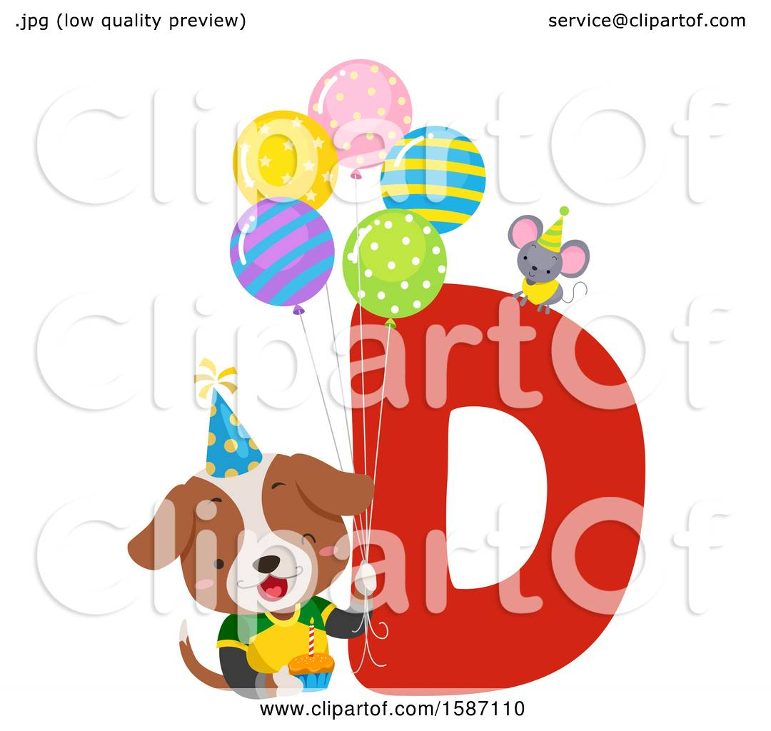 Clipart of a Birthday Animal Alphabet Letter D with a Dog.
