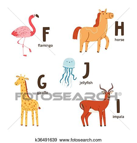 Animal alphabet letters f to j Clip Art.