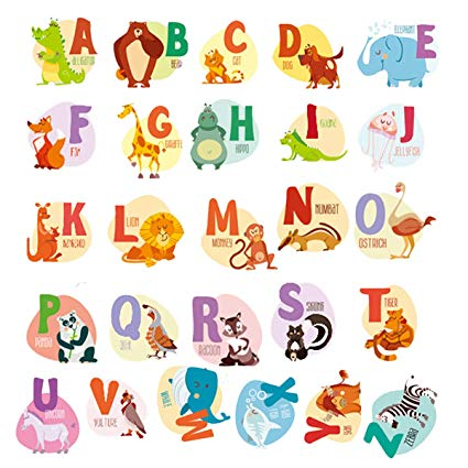 HUABEI Wall Decals Kids Animal Alphabet ABC Baby Wall Sticker Removable  Vinyl Mural Peel & Stick Large Educational Letters for Bedrooms Playrooms &.