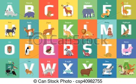 Animals Alphabet. Letter from A to Z.