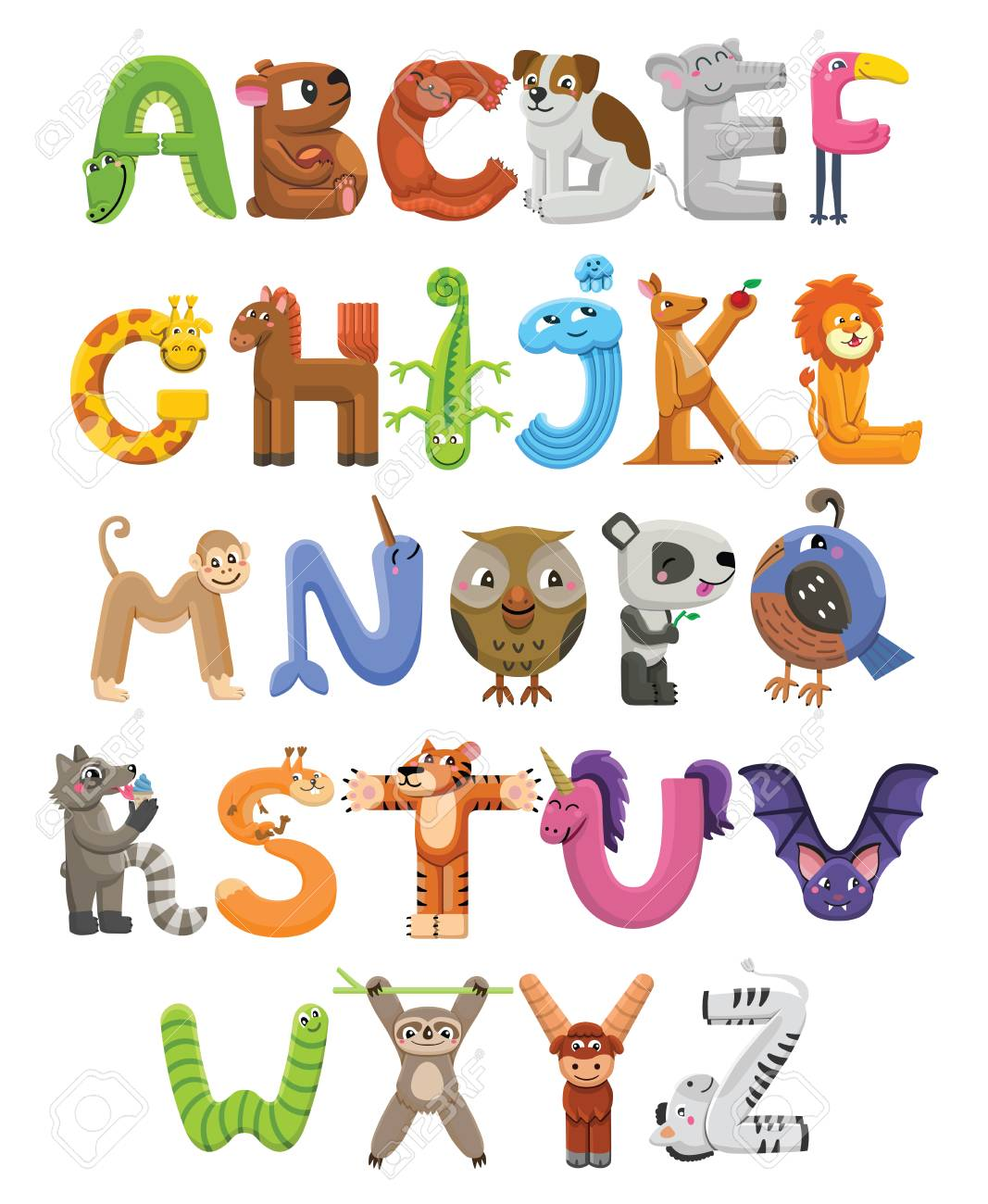 Zoo alphabet. Animal alphabet. Letters from A to Z. Cartoon cute...