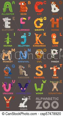 Zoo alphabet. Animal alphabet. Letters from A to Z. Cartoon cute animals  isolated on white background.