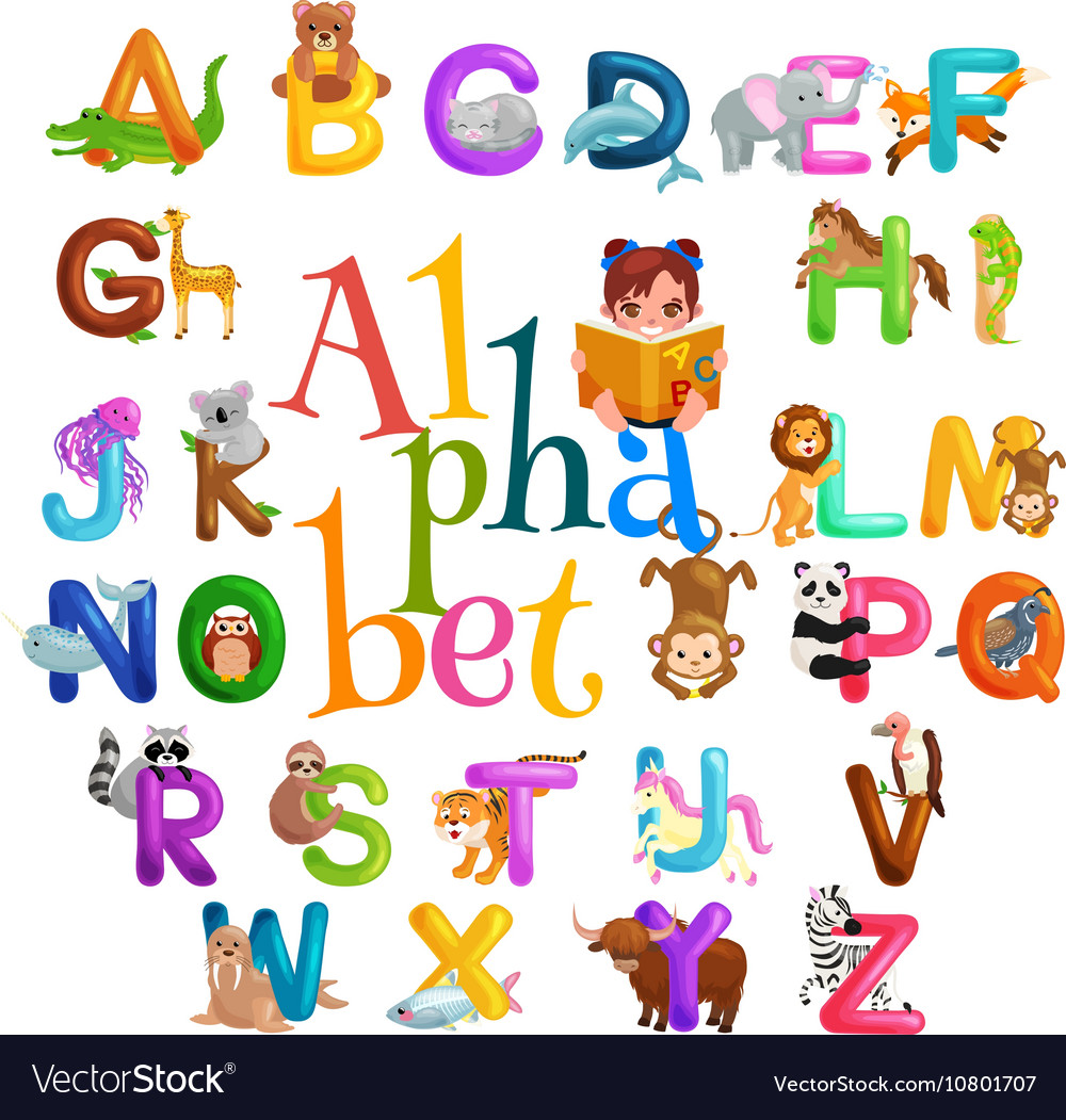 Animals alphabet set for kids abc education in.
