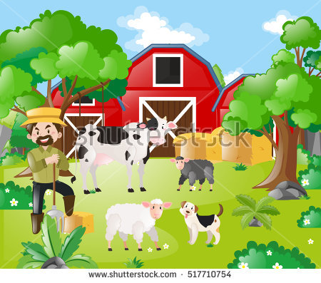 Farm Field With Animals Clipart.