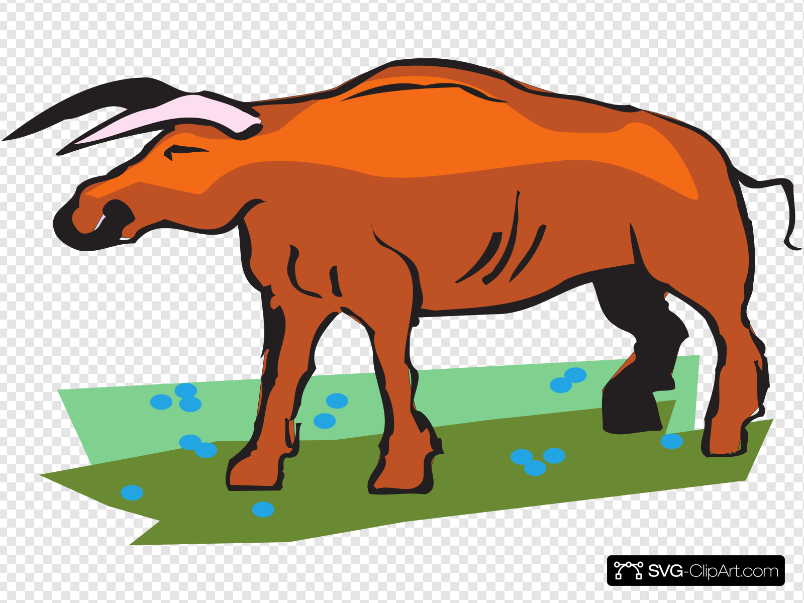 Bull In A Field Clip art, Icon and SVG.