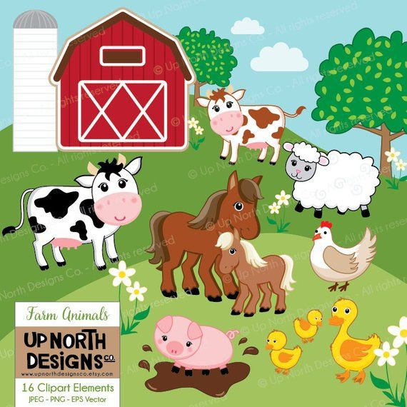 Farm Animals Clipart Cow Horse Duck Sheep Pig Illustrations.