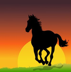 Wild Stallion Clipart Image.