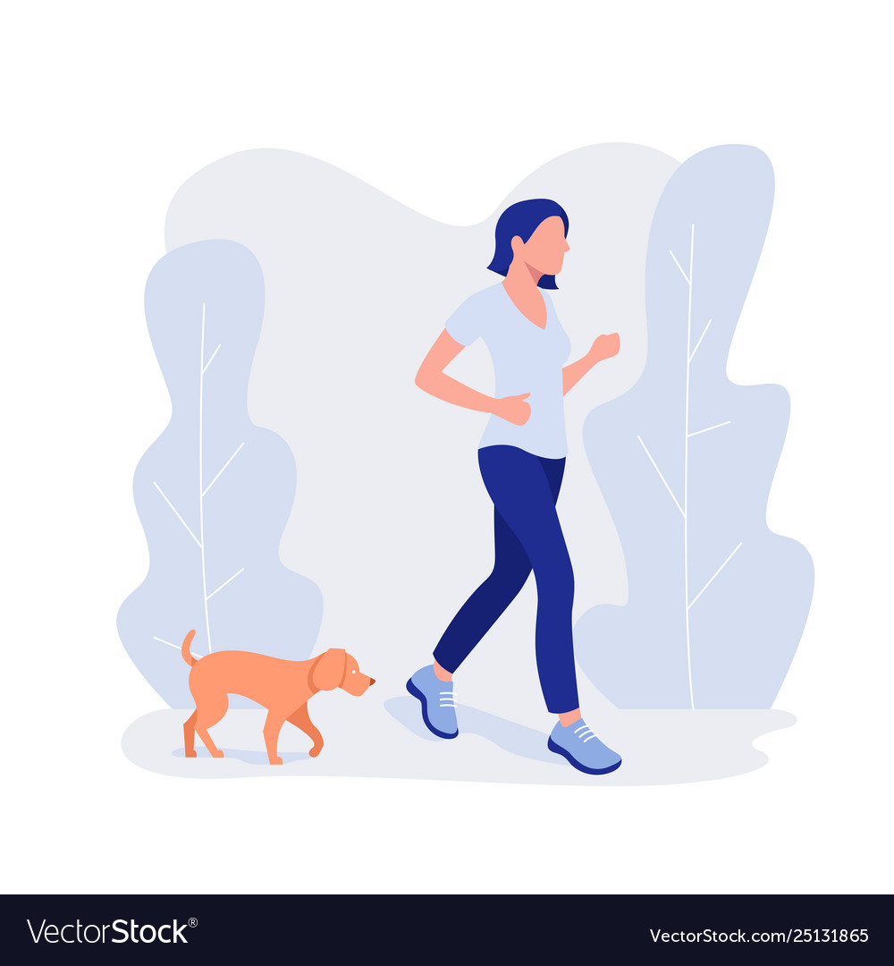 Woman and dog run healthy lifestyle working out.