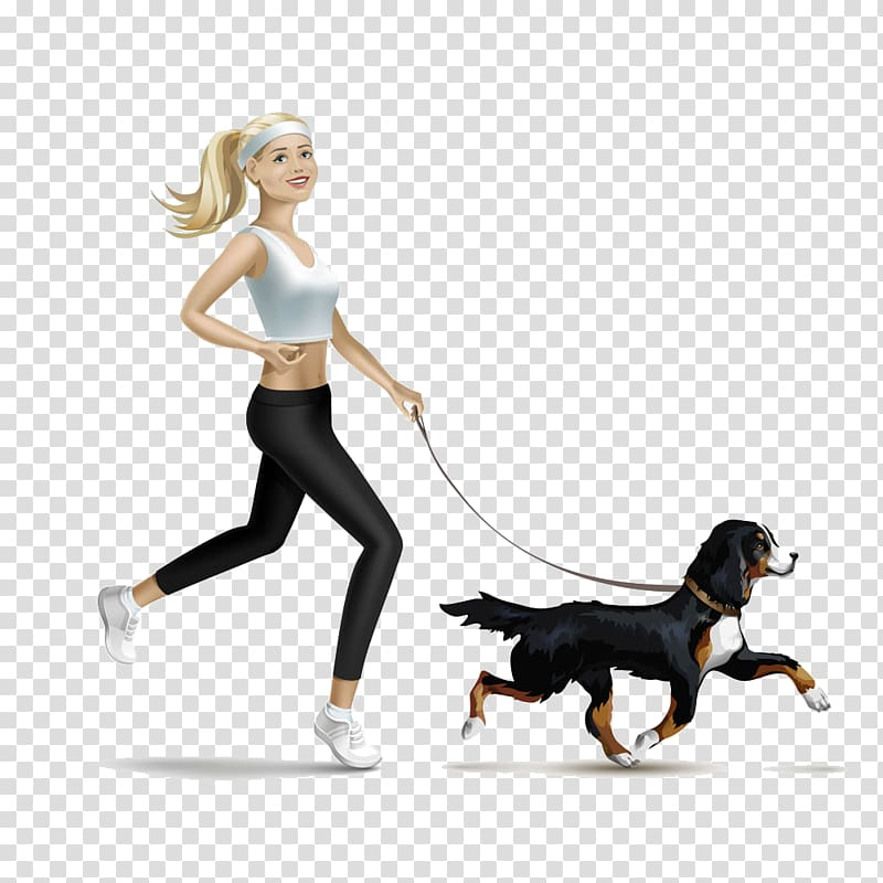 Jogging , Girl holding black dog transparent background PNG.