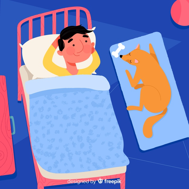 Person sleeping in bed background Vector.