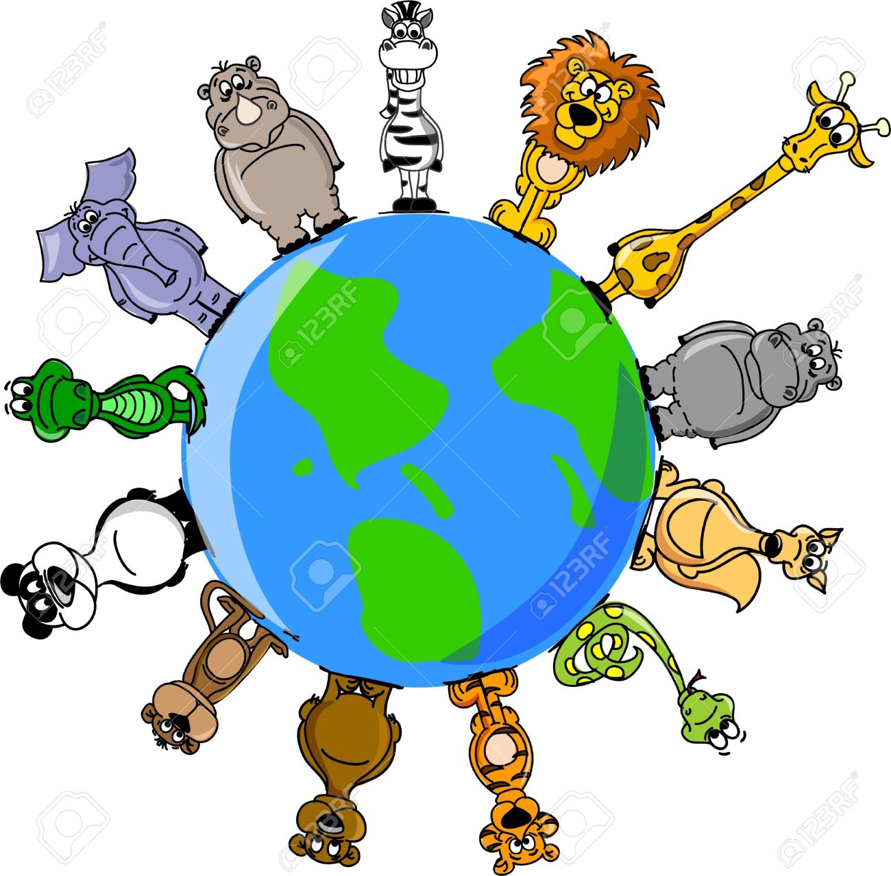 Animal Around The World Clipart on Circle Word Problems