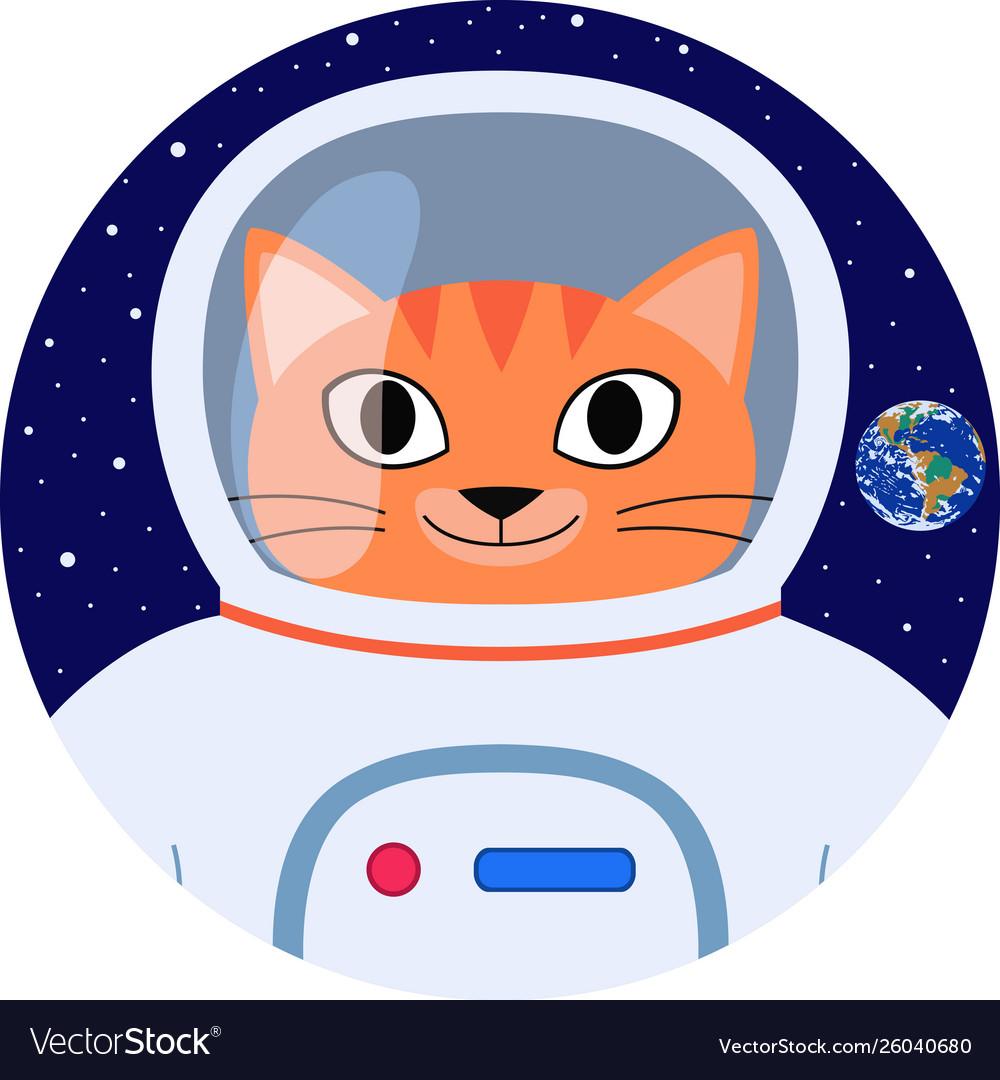 Icon orange cat astronaut in space suit.