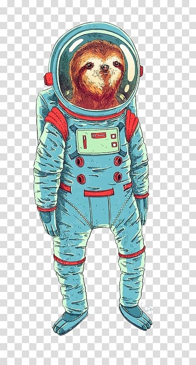 Brown animal astronaut illustration, Sloth Astronaut.