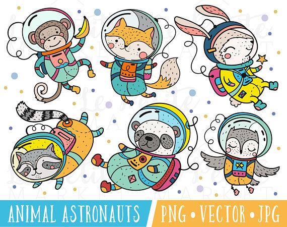 Cute Astronaut Clipart Images, Animal Astronauts Clipart.