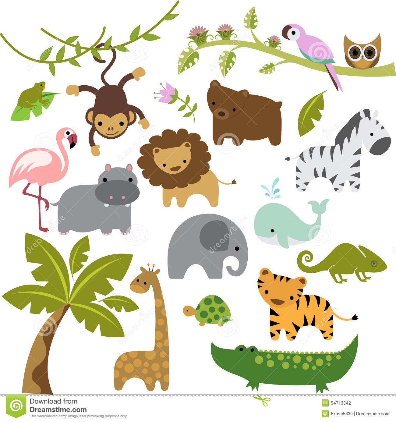 Baby Zoo Animals Vector Clipart Stock Vector.