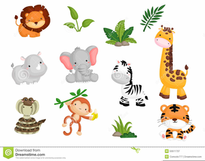 Baby Shower Jungle Animal Clipart.