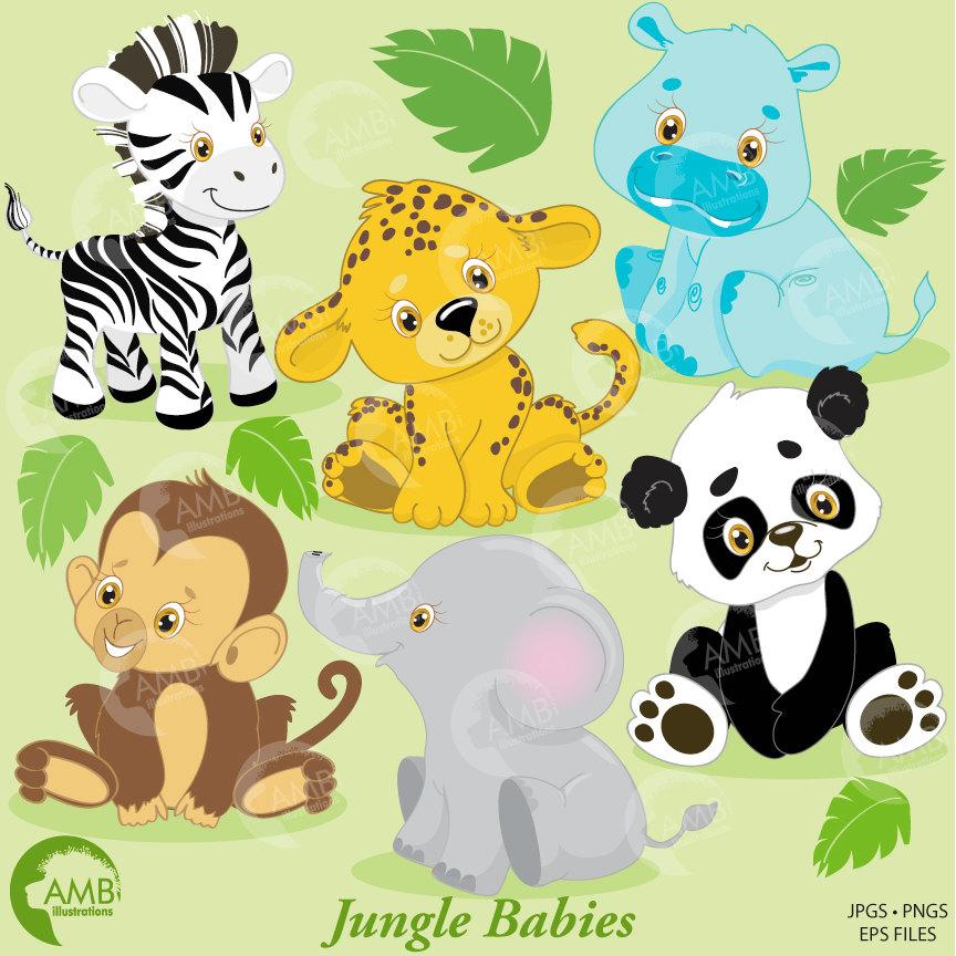 Jungle Animals Clip Art, Jungle Animal Clipart, Jungle Animal Babies  Clipart, Zebra, Elephant, Panda, Hippo, Commercial Use, AMB.