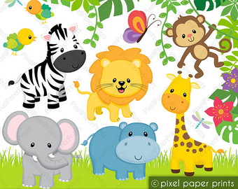 Baby Shower Jungle Animals Clipart.