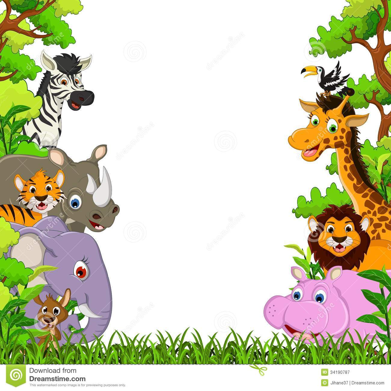 Jungle Animal Background Clipart.