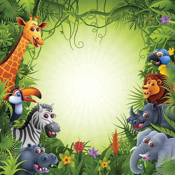 Image result for cartoon jungle background with animals in.