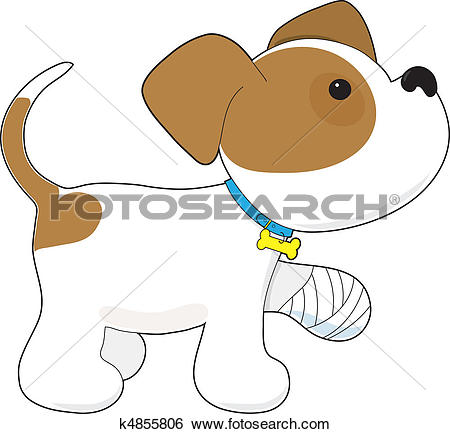 Stock Illustration of Cute Puppy with a Hurt Paw k4855806.