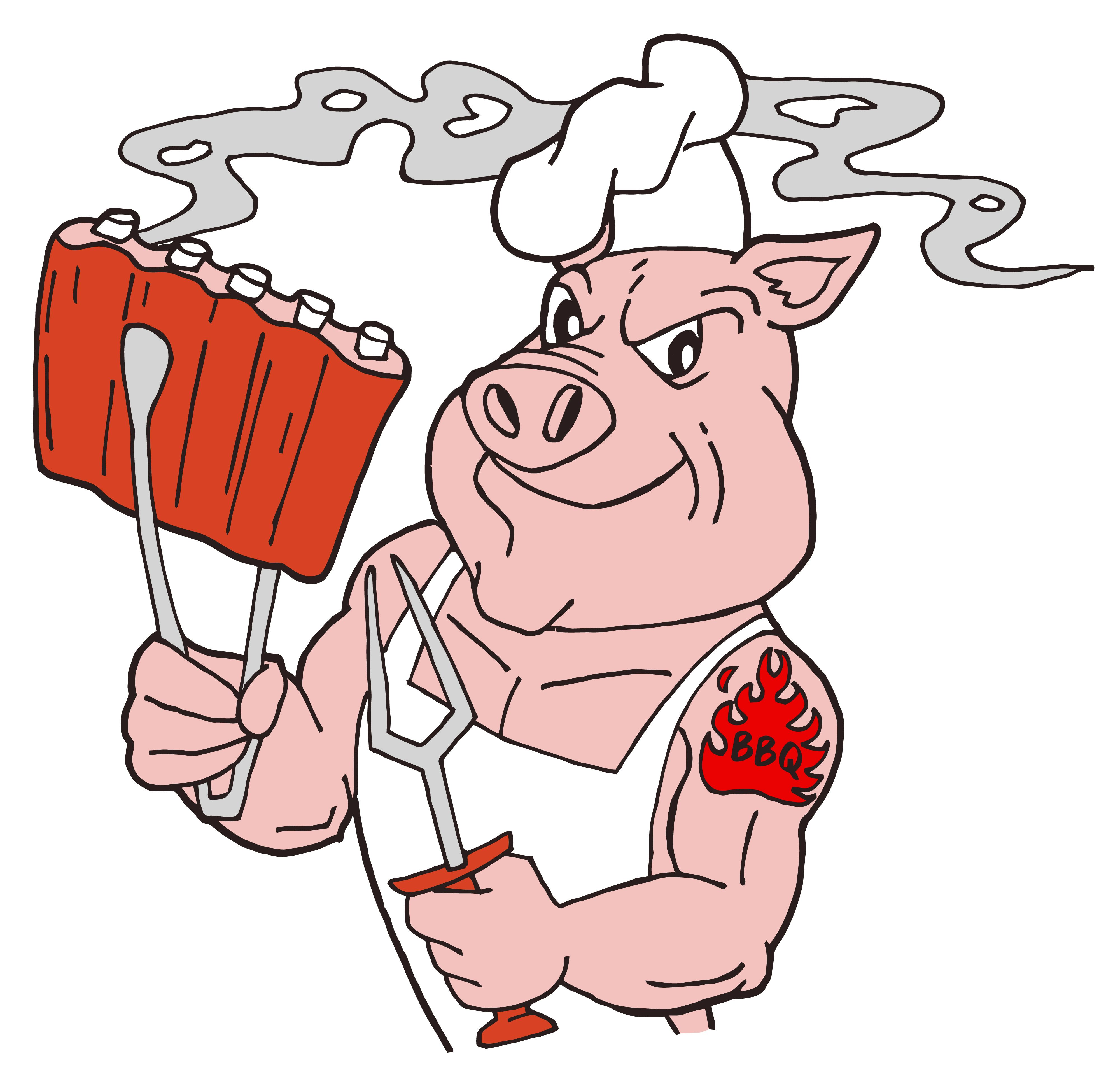 Pig Grilling Clipart.