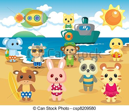 Vector Clipart of Beach Animal Party csp8209580.