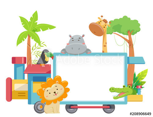 Zoo Animals Train Board Illustration.