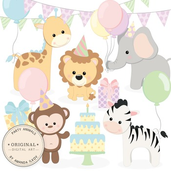 Birthday Baby Party Animals Clipart & Vector Set.