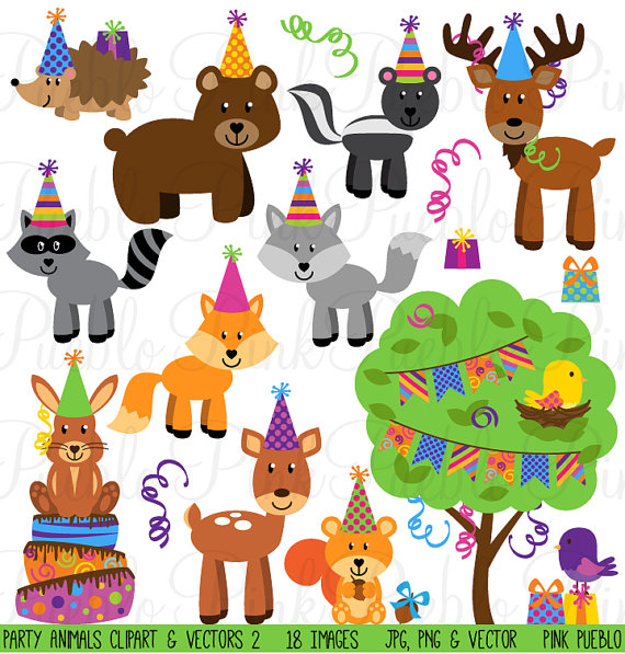 Birthday Party Animals Clipart Clip Art, Forest Woodland.