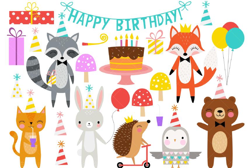 Birthday Party Animals Clipart.