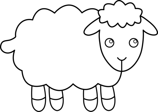 black and white clipart of lamb.