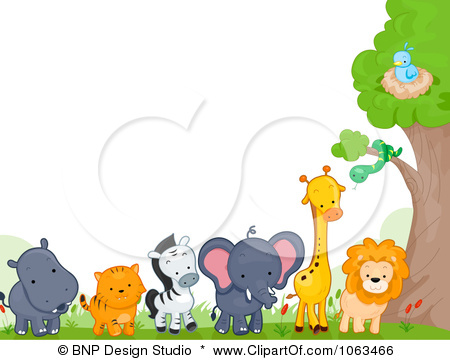 Clipart Border Of Wild Animals By A Tree.