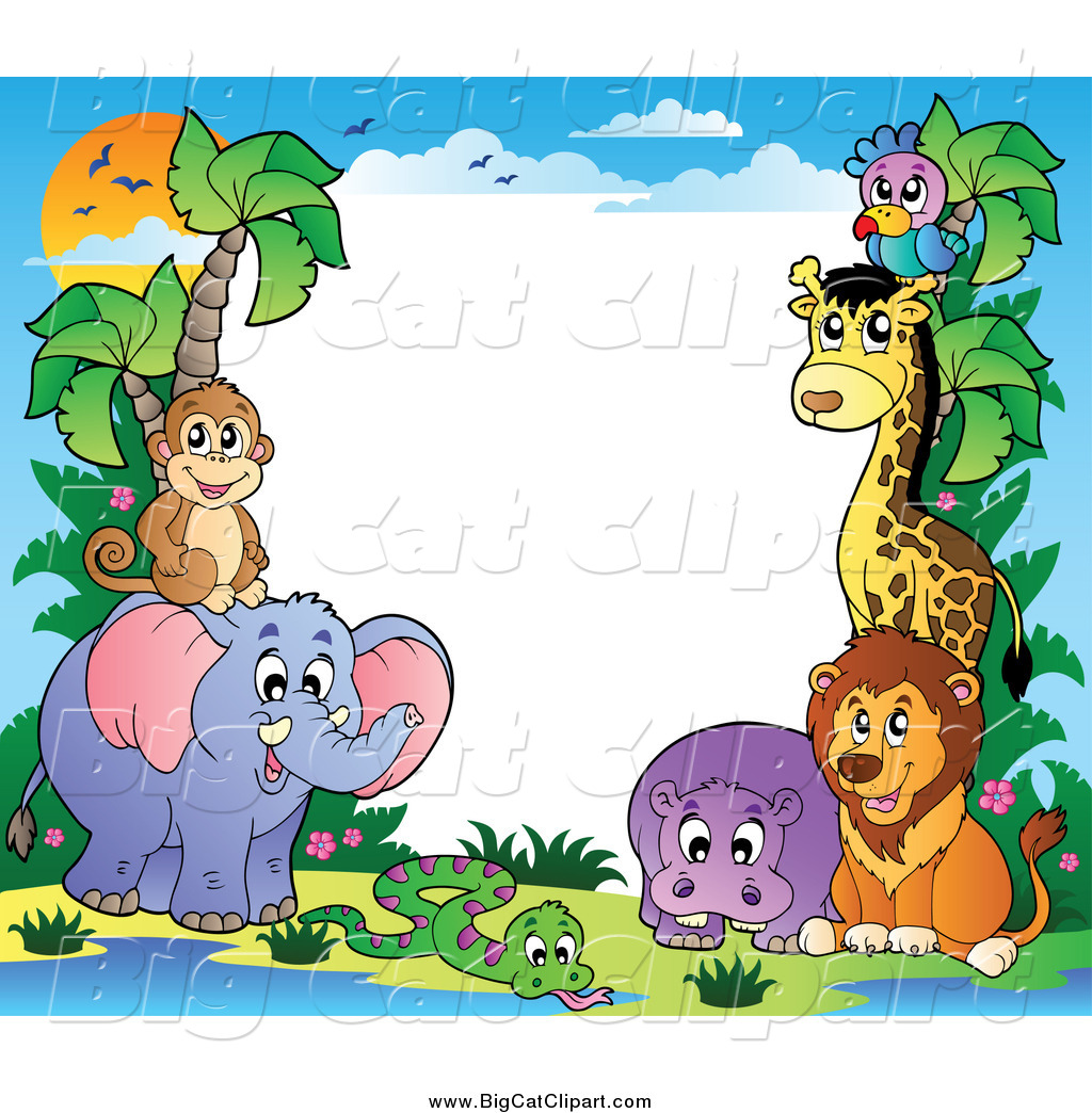 A Jungle Of Big Cat Designs: Animal Border Clipart Hd
