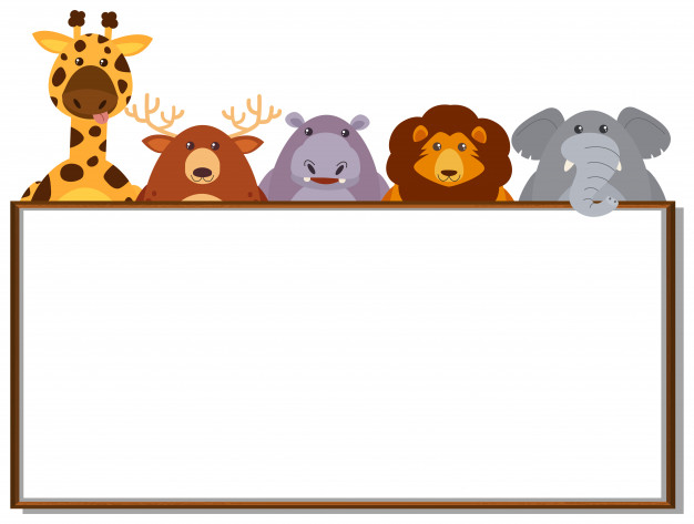 Border template with wild animals Vector.