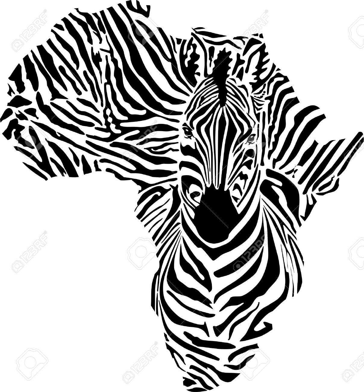Black continent in a zebras camouflage.
