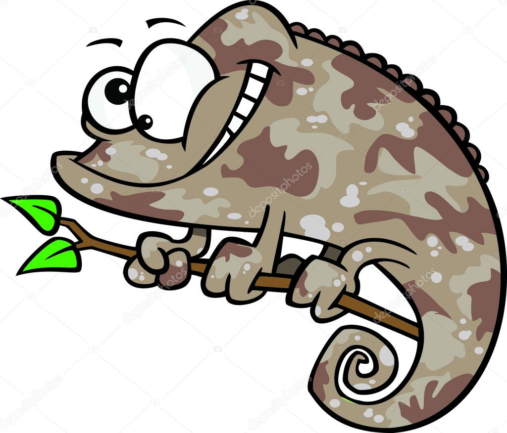 Clipart Happy Cartoon Brown Chameleon Lizard With Camouflage.
