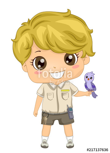 Kid Boy Zoo Keeper Bird Demonstration Illustration\