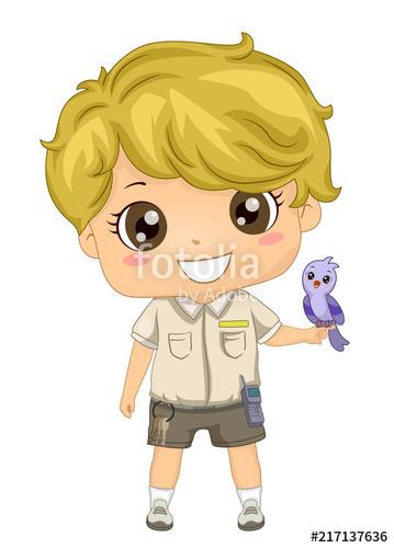 Kid Boy Zoo Keeper Bird Demonstration Illustration\